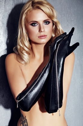 7Heaven Wetlook Elbow Length Gloves  - Latex clothing