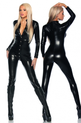 Saresia Catsuit With Front Stud Fastening - Latex clothing