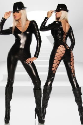Saresia Long Sleeve Catsuit With Adjustable Lacing - Latex clothing