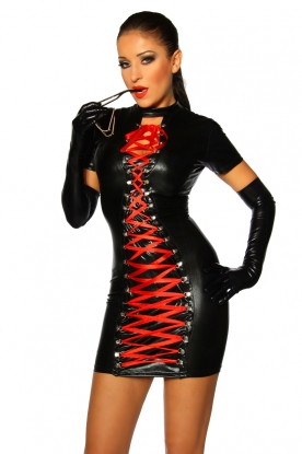 Saresia Short Sleeve Dress with Red Ribbon - Latex clothing