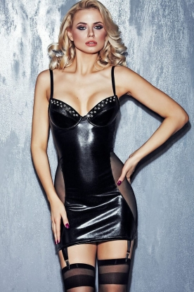 7heaven Suspender Mini Dress with Studded Cups - Latex clothing