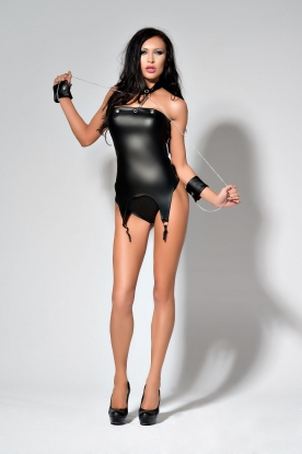 Me Seduce Wetlook Suspender Playsuit - Latex clothing