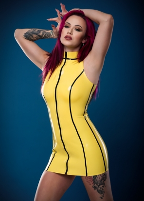 Boni Sleeveless Latex Dress with Trim - Latex clothing