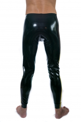 Twin Stripe Leggings with Pouch - Latex clothing
